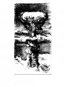 Drawing of bomb created at Los Alamos, dropped on Nagasaki in 1945.